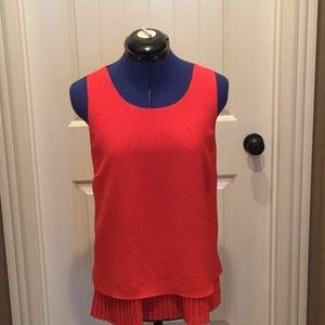 Red tank with under pleated tank.